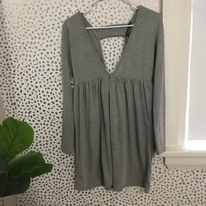 Dress or long shirt grey deep V